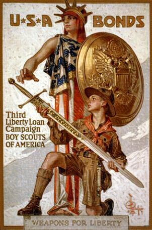 Poster: USA Bonds Third Liberty Loan Campaign Boy Scouts of America.  Weapons for Liberty